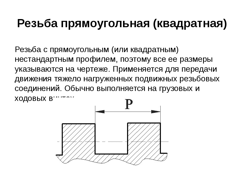 Резьба прямоугольная (квадратная) Резьба с прямоугольным (или квадратным) нес...