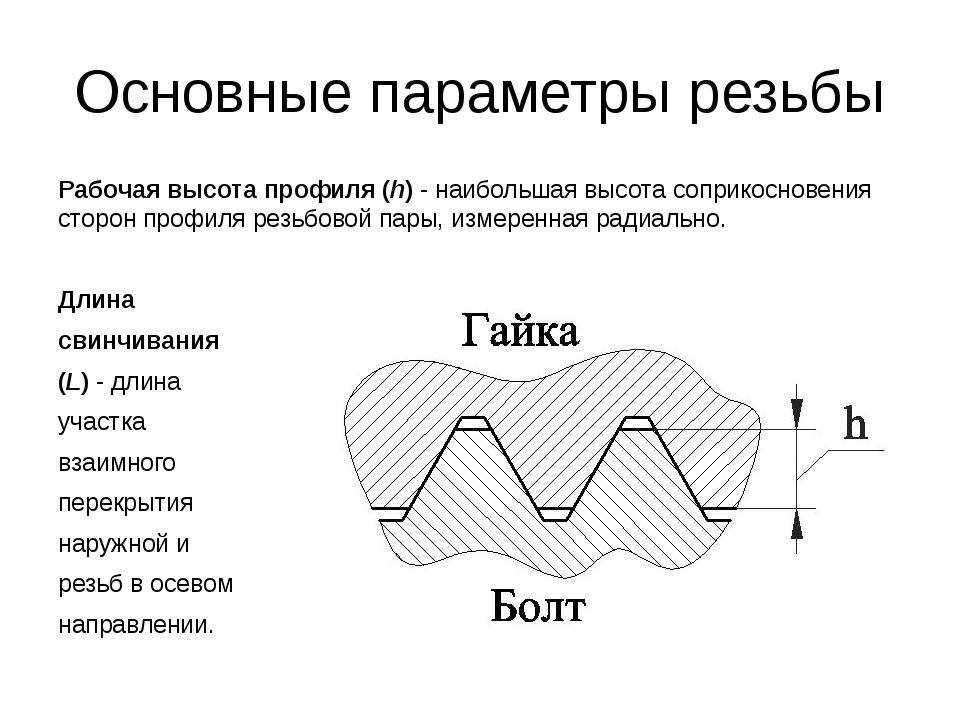 Основные параметры резьбы Рабочая высота профиля (h)- наибольшая высота сопр...