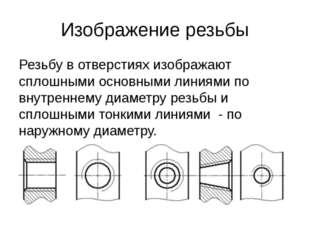 Изображение резьбы Резьбу в отверстиях изображают сплошными основными линиями
