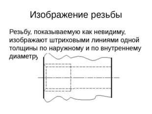 Изображение резьбы Резьбу, показываемую как невидиму, изображают штриховыми л