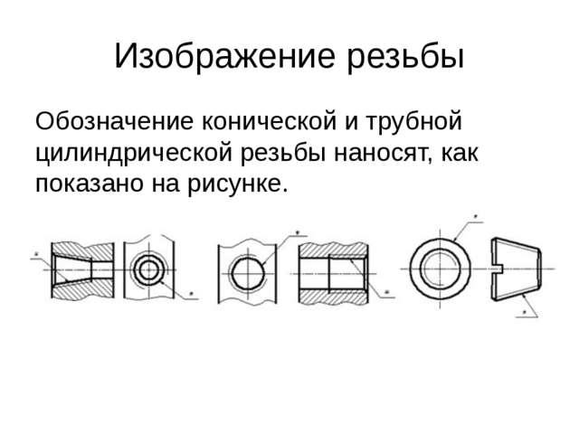 Изображение резьбы Обозначение конической и трубной цилиндрической резьбы нан...