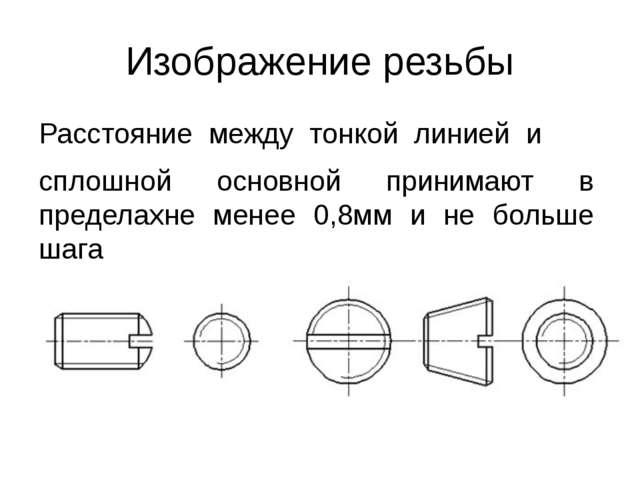 Изображение резьбы Расстояние между тонкой линией и сплошной основной...