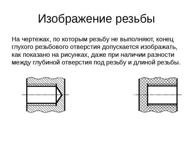 Изображение резьбы На чертежах, по которым резьбу не выполняют, конец глухого...