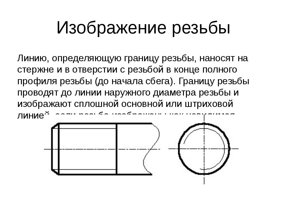 Изображение резьбы Линию, определяющую границу резьбы, наносят на стержне и в...