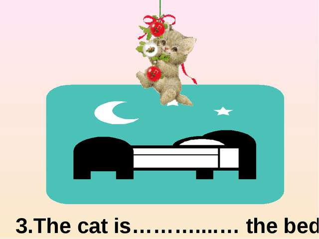 3.The cat is………....… the bed above
