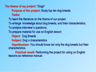 "The theme of my project: ""Dogs"" Purpose of the project: Study top ten dog bre"
