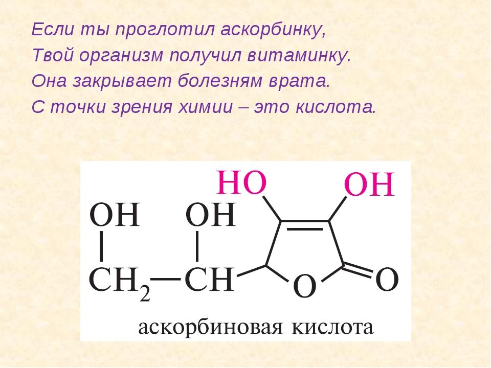 Если ты проглотил аскорбинку, Твой организм получил витаминку. Она закрывает...