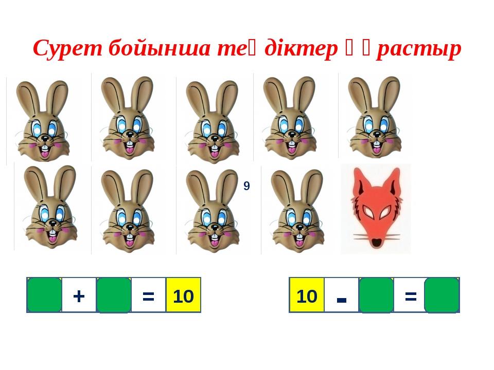1 Сурет бойынша теңдіктер құрастыр 9 10 1 9 + = 9 = - 10