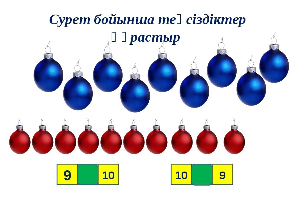Сурет бойынша теңсіздіктер құрастыр 9 10 9 < > 10