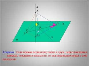 с b α a A x C B X • • • A1 A2 Теорема : Если прямая перпендикулярна к двум пе