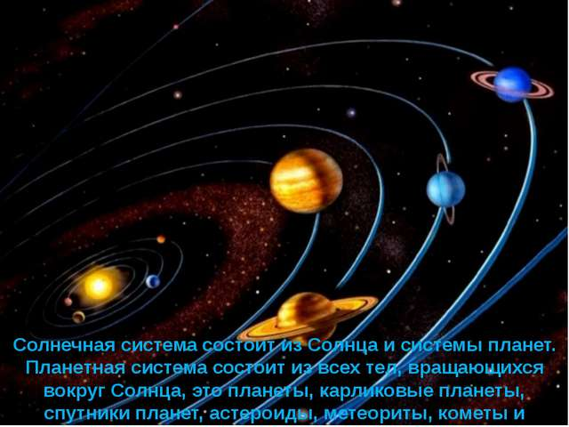 Солнечная система состоит из Солнца и системы планет. Планетная система состо...