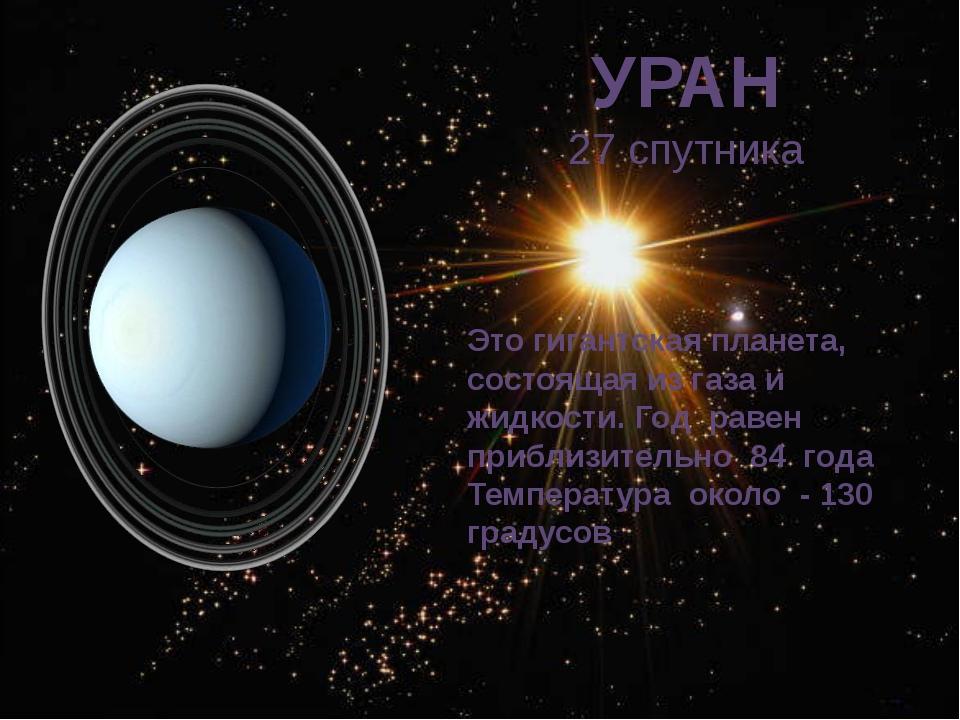 УРАН 27 спутника Это гигантская планета, состоящая из газа и жидкости. Год ра...