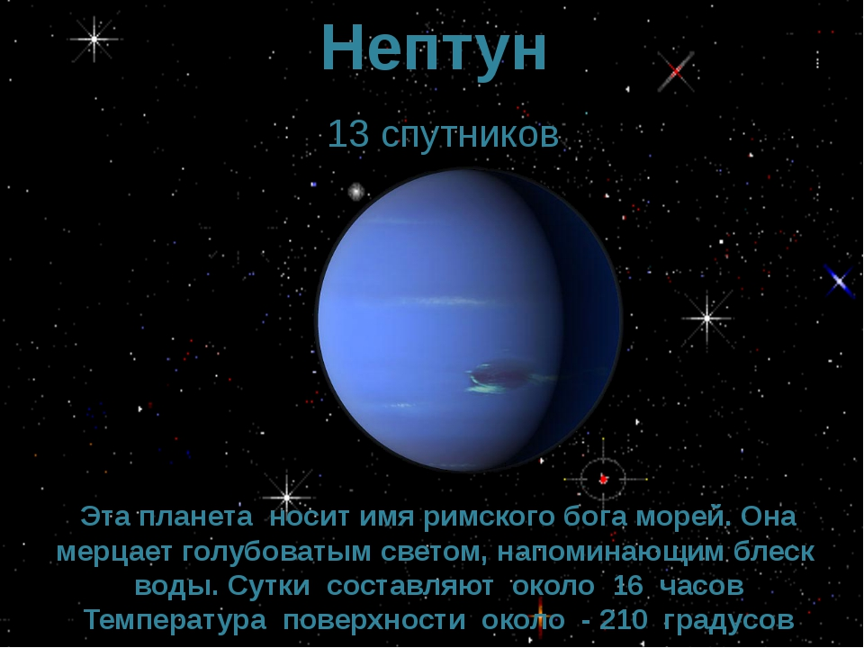 Нептун 13 спутников Эта планета носит имя римского бога морей. Она мерцает го...