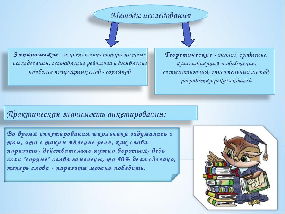 Методы исследования Эмпирические - изучение литературы по теме исследования,...