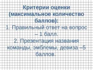 Критерии оценки (максимальное количество баллов): 1. Правильный ответ на вопр