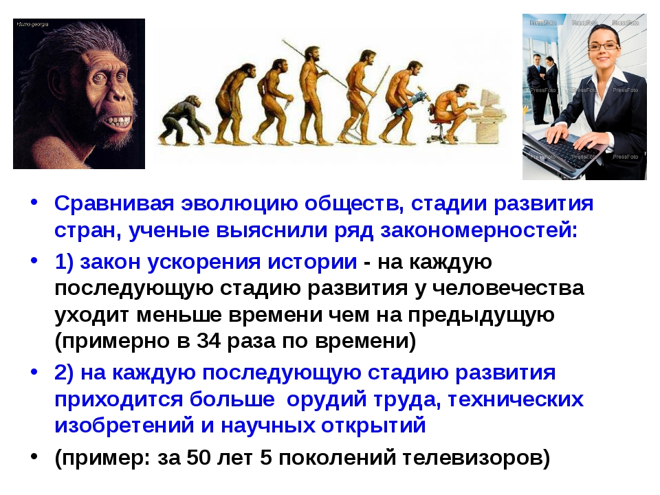 Сравнивая эволюцию обществ, стадии развития стран, ученые выяснили ряд законо...