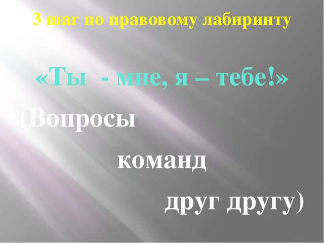 3 шаг по правовому лабиринту «Ты - мне, я – тебе!» (Вопросы команд друг другу)