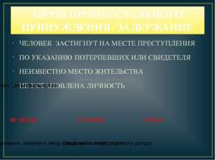 МЕРЫ ПРОЦЕССУАЛЬНОГО ПРИНУЖДЕНИЯ: ЗАДЕРЖАНИЕ ЧЕЛОВЕК ЗАСТИГНУТ НА МЕСТЕ ПРЕСТ