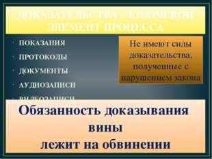 ДОКАЗАТЕЛЬСТВА – КЛЮЧЕВОЙ ЭЛЕМЕНТ ПРОЦЕССА ПОКАЗАНИЯ ПРОТОКОЛЫ ДОКУМЕНТЫ АУДИ