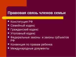 Правовая связь членов семьи Конституция РФ Семейный кодекс Гражданский кодекс