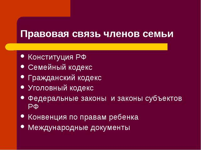 Правовая связь членов семьи Конституция РФ Семейный кодекс Гражданский кодекс...