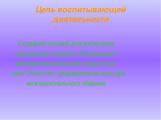 Цель воспитывающей деятельности Создание условий для воспитания гражданина-па...