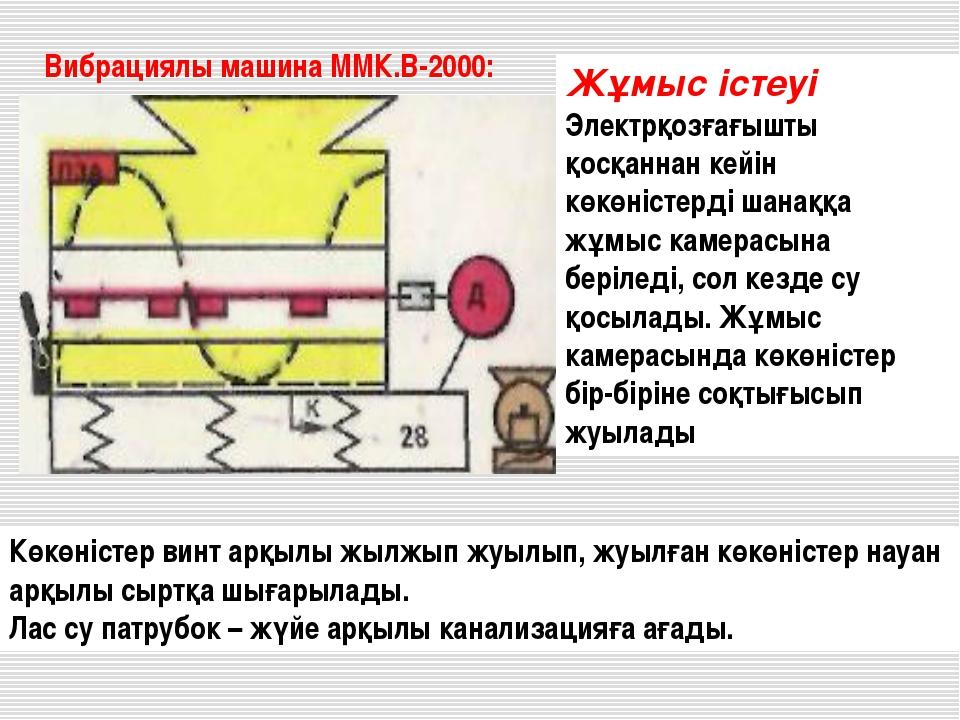 Вибрациялы машина ММК.В-2000: Жұмыс істеуі Электрқозғағышты қосқаннан кейін к...