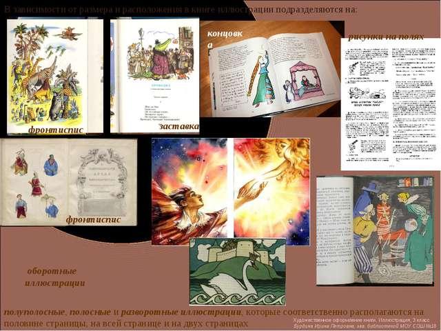 В зависимости от размера и расположения в книге иллюстрации подразделяются на...