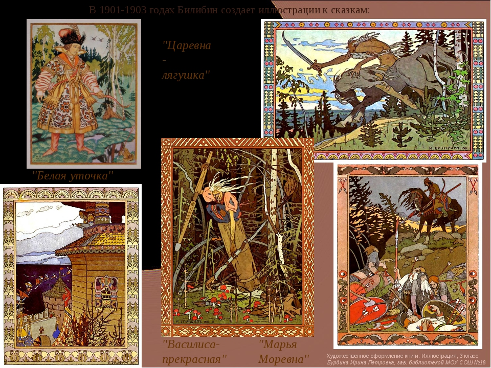 """В 1901-1903 годах Билибин создает иллюстрации к сказкам: """"Царевна-лягушка"""" """"В..."""
