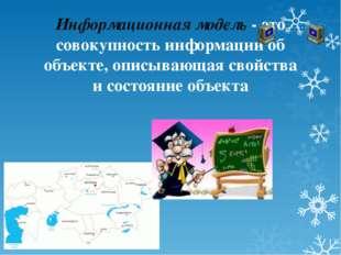 Информационная модель- это совокупность информации об объекте, описывающая с