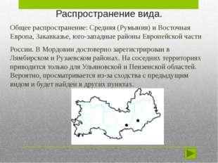 Распространение вида. Общее распространение: Средняя (Румыния) и Восточная Ев