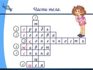 Части тела. г 1 2 3 4 5 6 г к ж с ш 7 р у д ь о л о в а о н е ч н о с т и и в