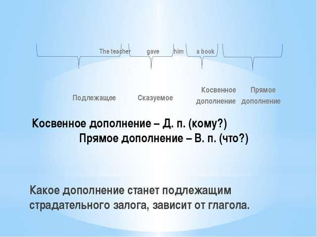 Какое дополнение станет подлежащим страдательного залога, зависит от глагола....