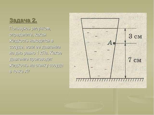 Задача 2. Пользуясь рисунком, определите, какая жидкость находится в сосуде,...