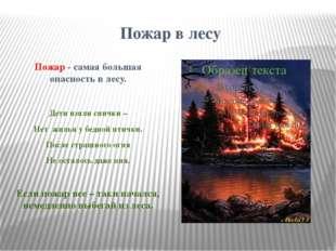 Пожар в лесу Пожар - самая большая опасность в лесу. Дети взяли спички – Нет