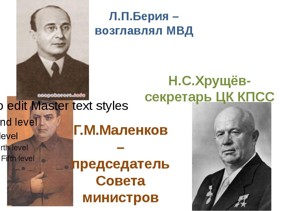 Л.П.Берия – возглавлял МВД Г.М.Маленков – председатель Совета министров Н.С.Х...
