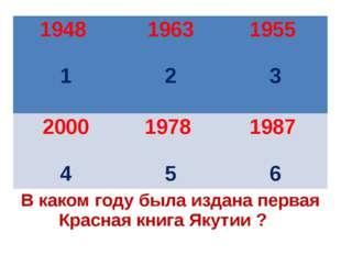 В каком году была издана первая Красная книга Якутии ? 1948 1 1963 2 1955 3 2