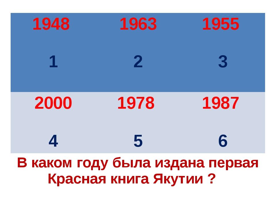 В каком году была издана первая Красная книга Якутии ? 1948 1 1963 2 1955 3 2...