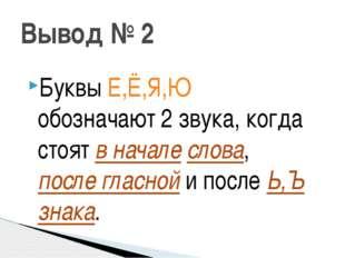 Вывод № 2 Буквы Е,Ё,Я,Ю обозначают 2 звука, когда стоят в начале слова, после