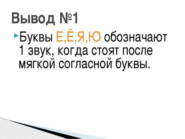 Вывод №1 Буквы Е,Ё,Я,Ю обозначают 1 звук, когда стоят после мягкой согласной...