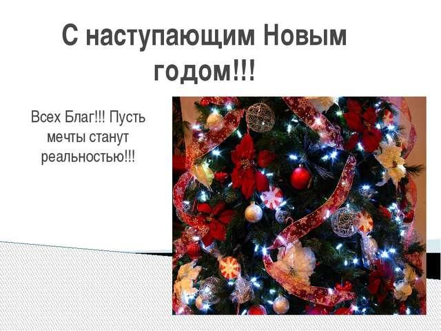 С наступающим Новым годом!!! Всех Благ!!! Пусть мечты станут реальностью!!!