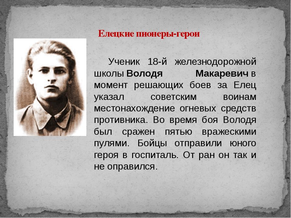 Елецкие пионеры-герои Ученик 18-й железнодорожной школыВолодя Макаревичв мо...