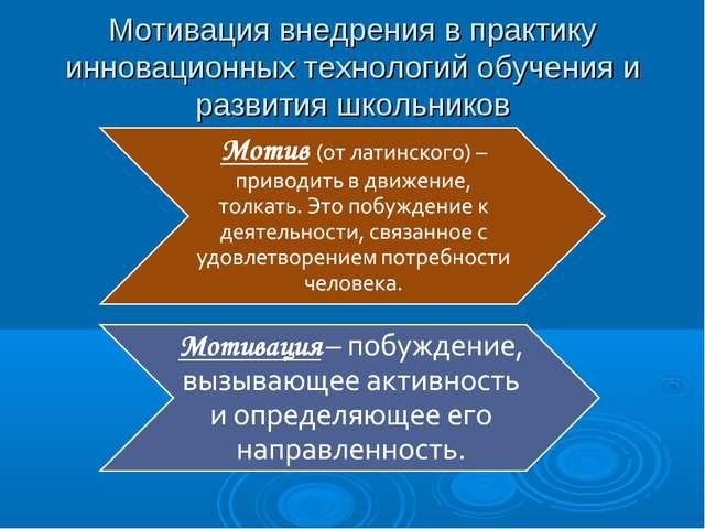 Мотивация внедрения в практику инновационных технологий обучения и развития ш...