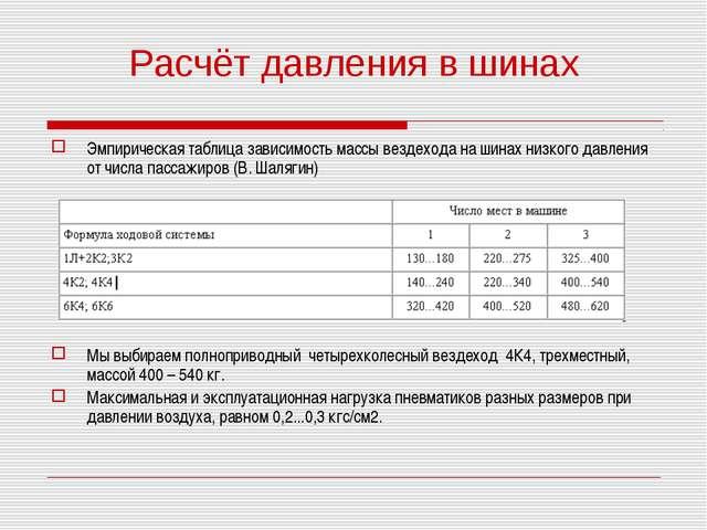 Расчёт давления в шинах Эмпирическая таблица зависимость массы вездехода на ш...