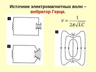 Источник электромагнитных волн – вибратор Герца.
