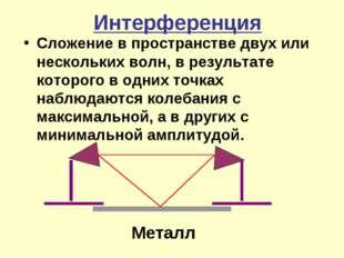 Интерференция Сложение в пространстве двух или нескольких волн, в результате
