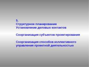 5. Структурное планирование Установление деловых контактов Соорганизация субъ