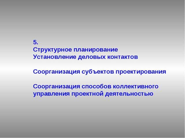 5. Структурное планирование Установление деловых контактов Соорганизация субъ...