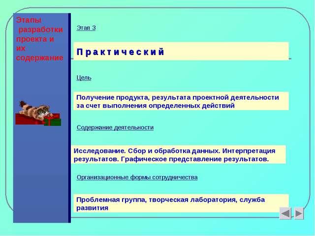 Этапы разработки проекта и их содержание П р а к т и ч е с к и й Цель Получен...