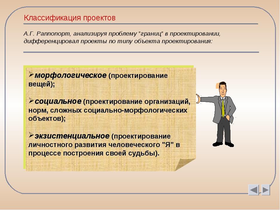 """Классификация проектов А.Г. Раппопорт, анализируя проблему """"границ"""" в проекти..."""